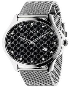 a9d41bd8f9f Gucci G-Timeless Diamond Dial Stainless Steel Mesh Unisex Watch. Get the  lowest price