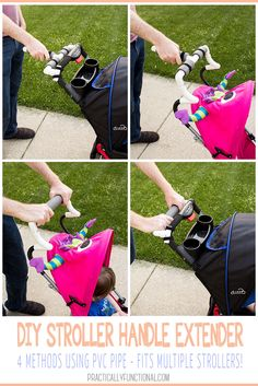 This is such an easy way to make a DIY stroller handle extender with PVC pipe! Works for strollers with padded handles and umbrella strollers with hard handles!