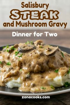 This Salisbury Steak with Mushroom Gravy recipe is quick and delicious! The beef is savory and the creamy mushroom gravy is perfect served over mashed potatoes. This recipe serves 2 people, is cooked in one pan, and ready in just 30 minutes. Beef Recipes For Dinner, Ground Beef Recipes, Meat Recipes, Cooking Recipes, Minute Steak Recipes, Hamburger Steak Recipes, Game Recipes, Salisbury Steak With Mushroom Gravy Recipe, Salisbury Steak Recipes