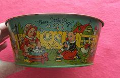 Vintage J Chein Three Little Pigs Tin Wash Tub Sand Pail Toy Excellent | eBay
