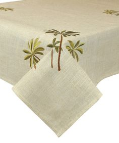 Loving this Palm Tree Embroidered Linen-Blend Tablecloth on #zulily! #zulilyfinds