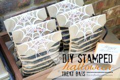 eighteen25: DIY Stamped Halloween Treat Bags - with pti spiderwebs