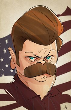 """Quick caricature of one of my favorite tv characters: Nick Offerman aka """"Ron Swanson"""" from the nbc show """"Parks and Recreation"""". Hope you like it!"""