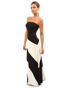 PattyBoutik Women's Striped Tube Maxi Dress (Black and Ivory White L) PattyBoutik http://www.amazon.com/dp/B00KF6AFPO/ref=cm_sw_r_pi_dp_spjIvb02PF83P