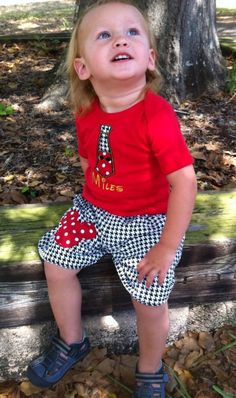 Houndstooth Mickey Tie Shorts Set by Littlemistysboutique on Etsy, $49.00