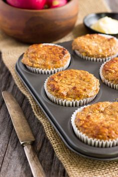 I love these super moist and tender apple protein muffins. They are protein-packed, healthy, naturally sweetened with maple syrup (could be replaced with honey) and extra easy to make. They are the perfect on-the-go clean eating breakfast or post-wor Protein Muffins, Healthy Breakfast Muffins, Clean Eating Breakfast, Breakfast On The Go, Best Breakfast, Clean Eating Snacks, Protein Cake, Healthy Eating, Protein Cookies
