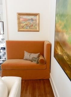 Corner chaise/chair/banquette in some shade of perfect orange velvet... ♥