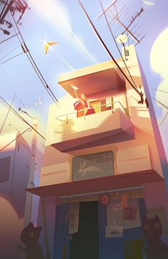 Jenny Yu is a Chinese-American artist and illustrator, based in Los Angeles, California. Currently, she is working as an environment concept artist at Mindshow… Environment Concept Art, Environment Design, Animation Background, Art Background, Digital Illustration, Graphic Illustration, Airplane Illustration, Motion Design, Illustrator