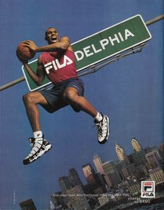 This week's vintage ad is one of the coolest FILA ads that I've come across. Take a look at Jerry Stackhouse and The Stack basketball shoe. Guerilla Marketing, Online Marketing, Street Marketing, Creative Advertising, Print Advertising, Advertising Campaign, Logos Retro, Plakat Design, Man About Town