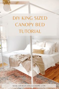 King Canopy Bed Frame DIY Tutorial - arinsolangeathome King Size Canopy Bed, Canopy Bed Frame, Diy Bed Frame, Diy Furniture Projects, Diy Home Decor Projects, Craft Projects, Bedroom Inspiration, Bedroom Ideas, Bedroom Decor