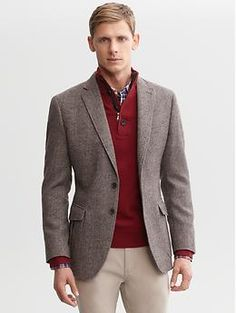 Tailored taupe tweed two-button blazer | Banana Republic | $250