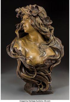 Friedrich Goldscheider Art Nouveau Pottery Bust of Salome Circa Art Pottery Sculpture Pottery Sculpture, Bronze Sculpture, Sculpture Art, Pottery Barn Wall Art, Pottery Art, Minoan Art, Goldscheider, Jar Art, Mosaic Wall Art