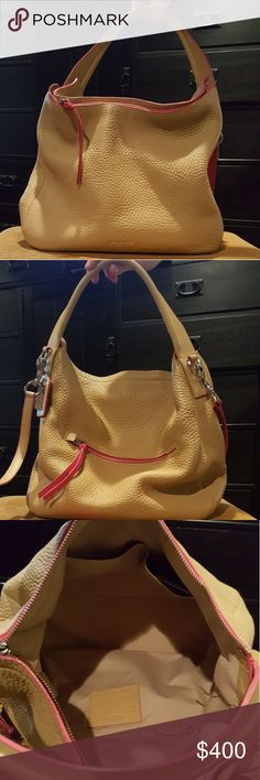 0389329918 Coach Handbag Coach tan pebble leather w hot pink accents hobo