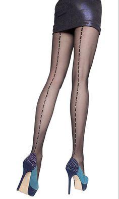 Fiore Alameda 20 Denier Metallic Seamed Pantyhose - See more tights at www.fashion-tights.net #tights #pantyhose #hosiery #nylons #fashion #legs #legwear #advertising #influencer #collants