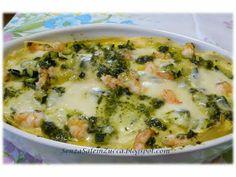 Lasagne zucchine, gamberi, bufala e pesto di Simone Rugiati