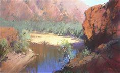 Trephina Gorge,Central Australia 65 x 100cm Painted Sep. 2005-65 x 100cm 2006 Outdoor Cafe, Australian Art, Cool Landscapes, Tree Oil, Studio Portraits, Rome, Pastel, Paintings, Watercolor