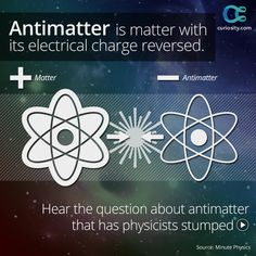 All particles have an antimatter counterpart. If of antimatter collided with of matter, it would produce as much energy as the Tsar Bomba—the largest nuclear weapon ever detonated. Amazing Science Facts, Interesting Facts About World, Fun Facts, Astronomy Facts, Space And Astronomy, Earth And Space Science, Science For Kids, Physics Memes, Physics Facts