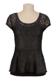 Lace Shimmer Peplum Top