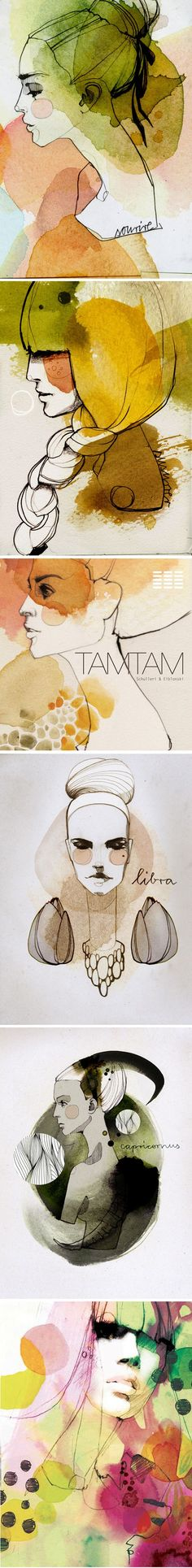 Illustrations par Ekaterina Koroleva Beautiful watercolors I am in awe of the work of Ekaterina Koroleva, graphic designer and illustrator based in Berlin. She loves fashion illustration, hence an omn Watercolor Face, Watercolor Design, Watercolor Portraits, Watercolor Paintings, Inspiration Art, Art Inspo, Collage Kunst, Art Et Illustration, Art Illustrations