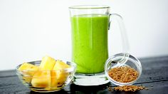 Green Flaxy - 1/2 c water, 2T flaxseeds, 2 clementines (peeled), 1 ripe banana, 2c baby spinach, 1/2 frozen pineapple chunks