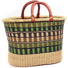 African Basket - Ghana Bolga - Oval Shopping Basket - 16.5 Inches Across - #44645