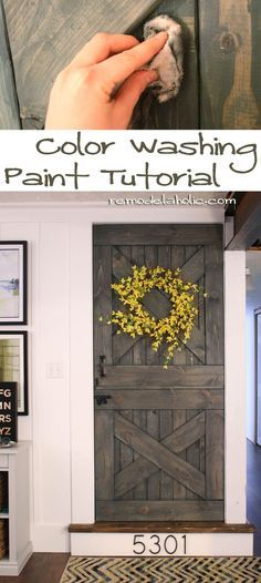 color washing paint technique, wood grain still shows, barn door #paint #barn_door