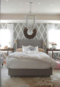 Tufted Bed Bedrooms Home Bedroom Bedroom Decor White Gray Bedroom Decor, Interior, Home, Bedroom Makeover, Home Bedroom, Gorgeous Bedrooms, Master Bedroom Inspiration, House Interior, Bedroom Inspirations