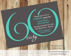 Milestone Birthday Invitation MODERN NUMBER Dark Gray Teal 30th 40th 50th 60th 70th 80th 90th