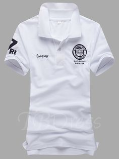 7565a50d England Style Solid Color Letter Printed Slim Men's Polo. Men ShirtsCasual T  ...