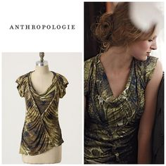 Anthropologie Gathered Feathers tee By one September . Size m. Will fit a size 6-10. Asymetric hemline . Great length to wear with leggings or skinny jeans . Will bundle for 10% off . Beading along the twisted front. In great condition . Anthropologie Tops