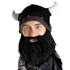 Beard Hat Beanie - Knit Viking Horned Helmet Beard Head