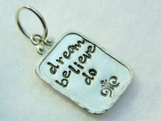 Hand stamped sterling silver necklace pendant; dream believe do | Lundela - Jewelry on ArtFire