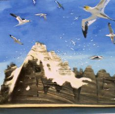 Oil on canvas painting of one ot the skellig islands off the southwest coast of Ireland. This is home to hundreds of thousands of nesting seabirds. The island is covered in bird droppings known as guano which can be seen clearly in this painting. Irish Landscape, Contemporary Landscape, Seascape Paintings, Landscape Paintings, Garden Painting, Sea Birds, Oil On Canvas, Islands, Scenery