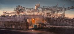 Concrete Crochet / 15 x 30 /Oil on canvas / Original Oil Painting by April Raber /  A material yard in Irvine's industrial area is all aglow in the twilight of an Autumn evening.
