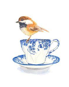 Original Bird Watercolour - Teacup Watercolour, Bird Art, Chickadee Painting, via Etsy Art And Illustration, Illustrations, Watercolor Illustration, Watercolor Bird, Watercolor Paintings, Original Paintings, Watercolours, Painting Prints, Fine Art Prints
