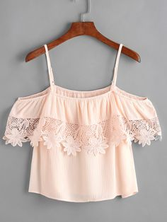 SheIn offers Pink Contrast Crochet Cold Shoulder Top & more to fit your fashionable needs. Indian Fashion Dresses, Girls Fashion Clothes, Teen Fashion Outfits, Outfits For Teens, Trendy Outfits, Girl Fashion, Cute Comfy Outfits, Cool Outfits, Mode Grunge