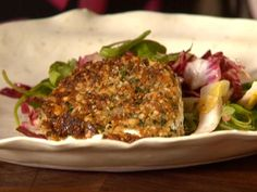 Get Wilted Bitter Greens with Crispy Walnut Goat Cheese Recipe from Food Network