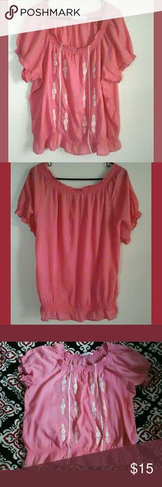 St John's Bay  Women's  Peasant Blouse Salmon color with elastic short sleeves, hem and neck, two buttons in front, white appliqu?  design in front as well. Wear with capris, shorts, jeans and skirts. Bundle 3 or more items  and get 30 % off at checkout. St John's  Bay   Tops Blouses