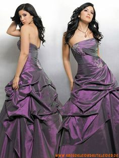 Lila elegante Abendkleider günstig aus Taft trägerlos Abendkleid