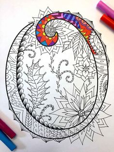 Letter O Zentangle Inspired by the font Harrington by DJPenscript