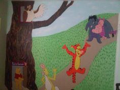 This mural was created for a friend in the nursery room, thanks for looking!  Check out my page on facebook at Caught Your Eye Murals My Friend, Friends, Nursery Room, Wall Murals, Dinosaur Stuffed Animal, Thankful, Eye, Facebook, Canvas