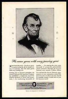 President Abraham Lincoln 1940 Ad Lincoln National Life Insurance Fort Wayne IN
