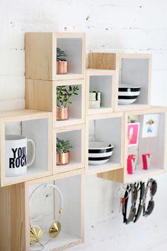 Diy: Una estantería con cajas de madera
