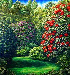 Pukekura Park painting - Caz Novak