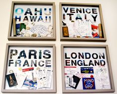 Travel memories- We love this idea- take your tickets, room keys, photos etc and create some wall art!