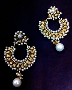Beautiful ethnic earrings with pearl stones and pearls by adiva ha99 tds 3