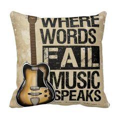 Music Speaks Throw Pillows