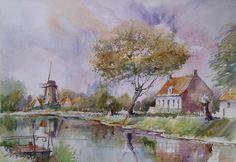 Moulin de Damme en Belgique, aquarelle, Annie Desfrennes.