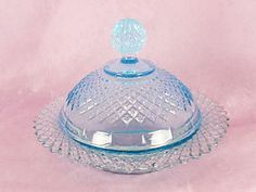 Aqua Blue Depression Glass Butter Dish