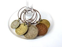 Wine Glass Charms Authentic Vintage Upcycled Coins by Hendywood, $20.00